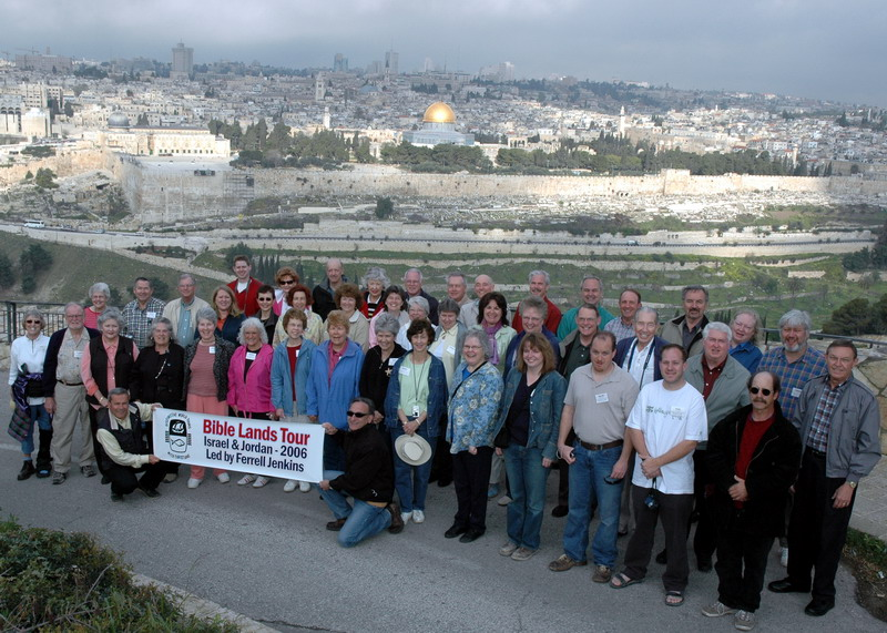 Bible Lands Tour Group Directed by Ferrell Jenkins. Photo made from the Mount of Olives in Jerusalem.