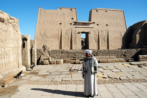 Temple of the sun god Horus at Edfu, Egypt. Temple was begun by Ptolemy III in 237 B.C. Photo by Ferrell Jenkins.